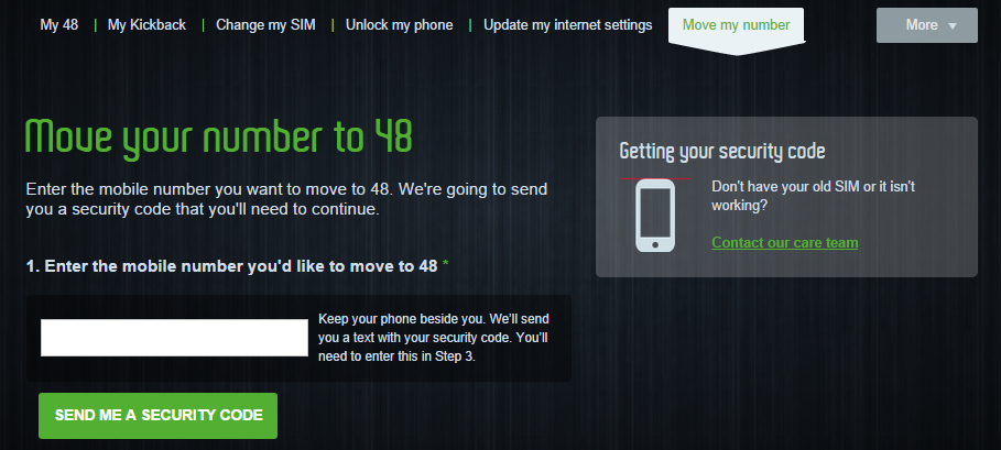 Move My Number - get the security code